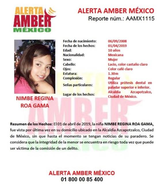 Activan Alerta Amber para localizar a niña desaparecida en Azcapotzalco