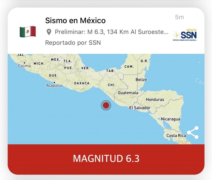 Sismo de 6.4 en Chiapas