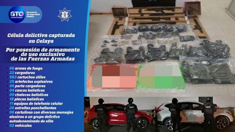 Capturan a célula delictiva en Celaya incautaron un arsenal y vehículos en operativo