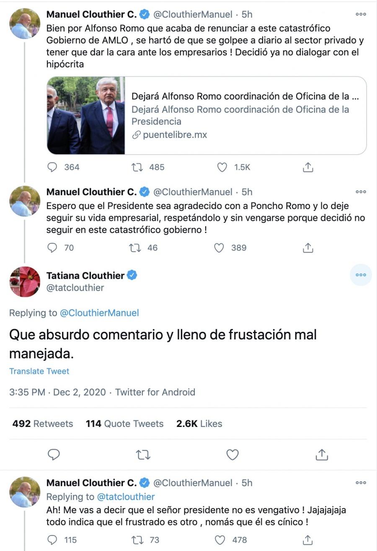 Los Clouthier chocan en redes sociales por salida de Alfonso Romo