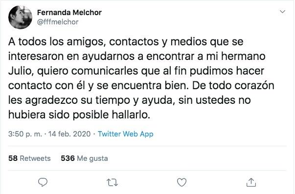 Fernanda Melchor encuentra a su hermano Julio