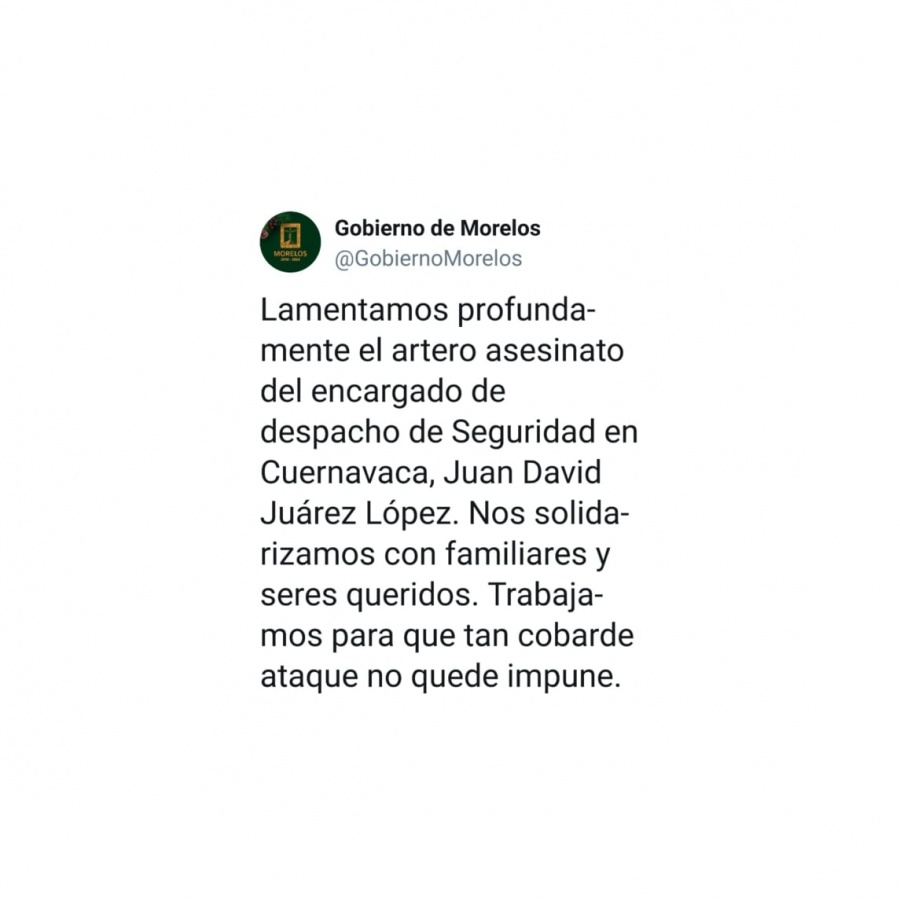 Gobierno de Morelos de luto por asesinato a titular de Seguridad