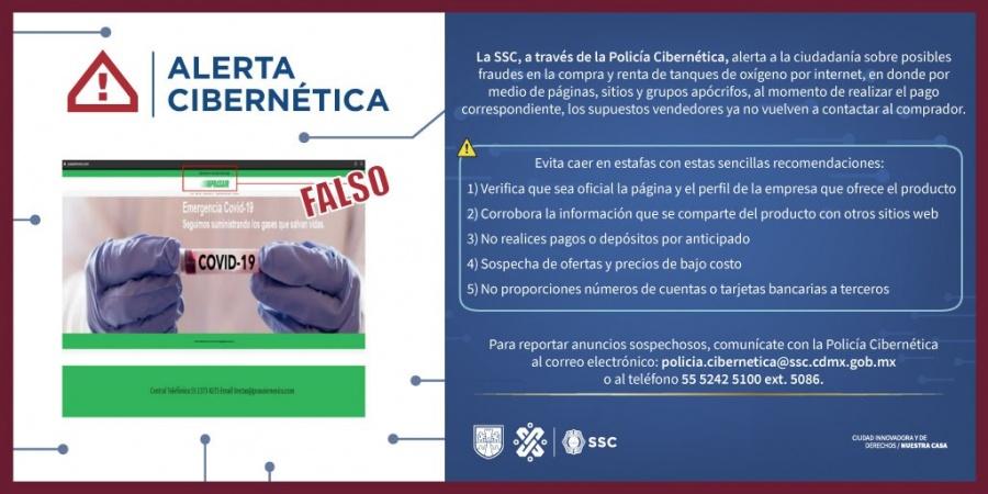 Alerta SSC de la CDMX por posibles fraude en compra y renta de tanques de oxígeno