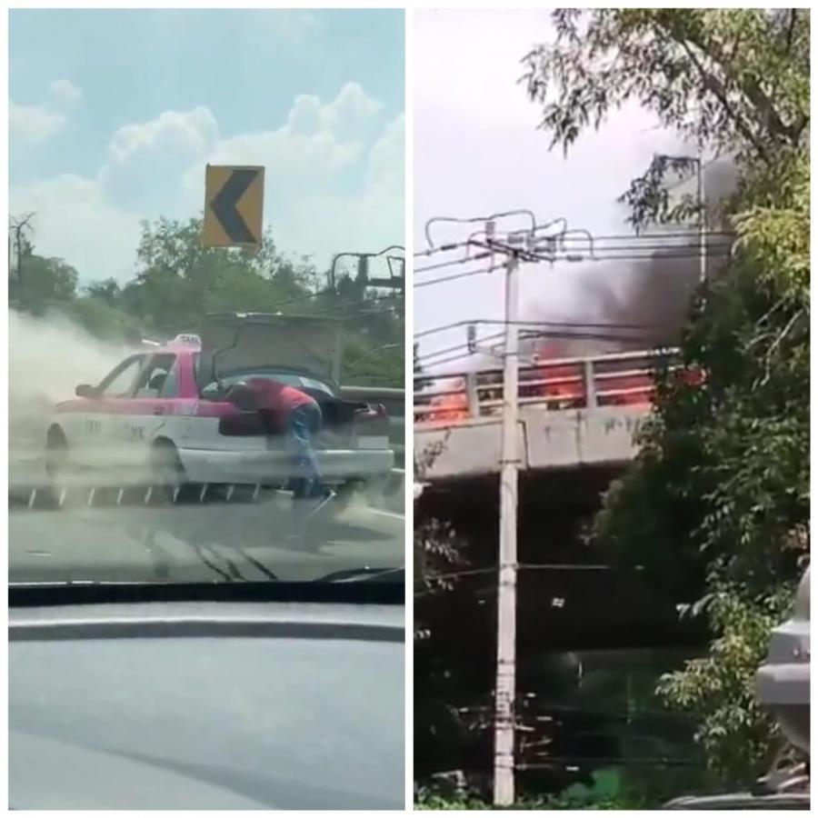 Videos: En llamas un taxi sobre el segundo piso del Periférico