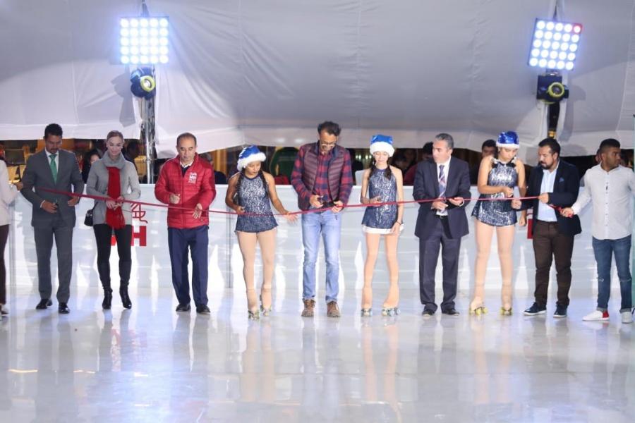 Inauguran en Miguel Hidalgo pista de hielo ecológica