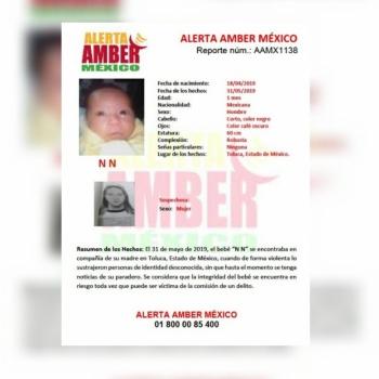 Activan Alerta Amber por desaparición de bebé en Toluca