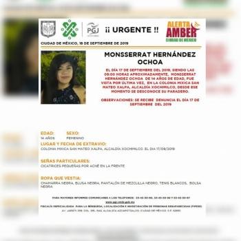 Alerta Amber: Ayuda a localizar a Monsserrat Hernández, desaparecida en Xochimilco