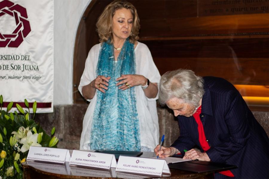 Firman convenio la Fundación Elena Poniatowska Amor y la Universidad del Claustro de Sor Juana