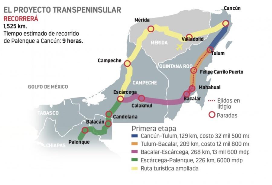 Ruta de Tren Maya en litigio con ejidatarios
