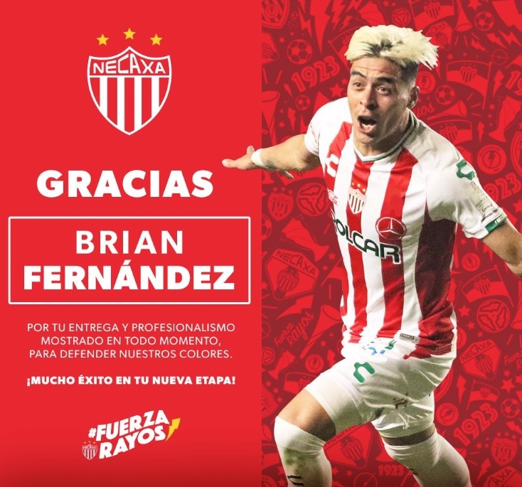 Necaxa anuncia la salida de Brian Fernández al Portland Timbers