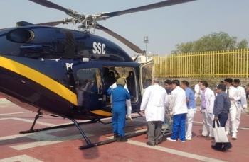 Trasladan en helicóptero a recién nacido por complicaciones respiratorias