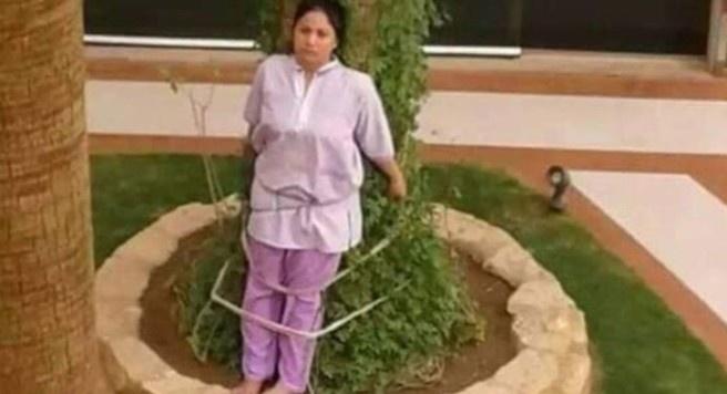 Por descuidar un mueble, amarran a un árbol a empleada doméstica