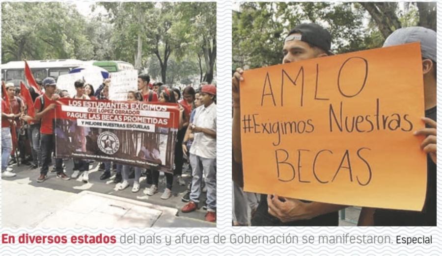 Estudiantes se manifiestan para exigir entrega de Becas