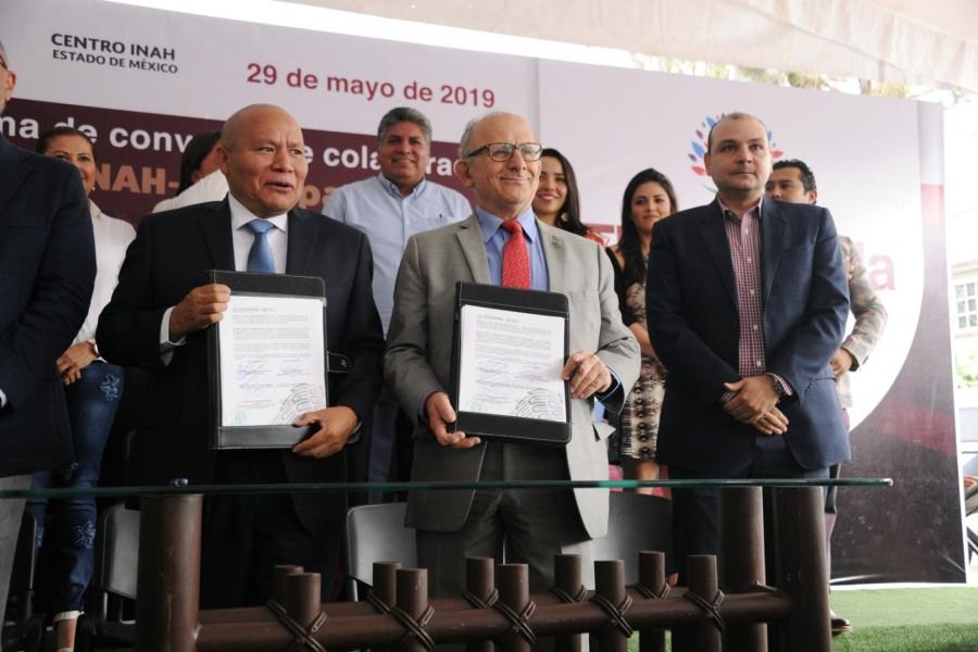 INAH firma convenio en Tlalnepantla a favor del patrimonio cultural