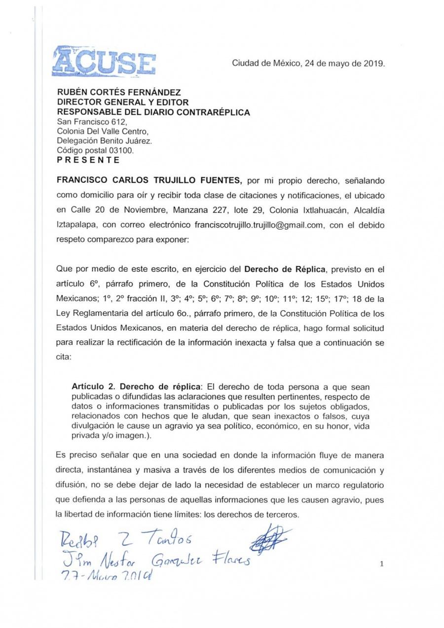 Derecho de Réplica - Francisco Carlos Trujillo Fuentes