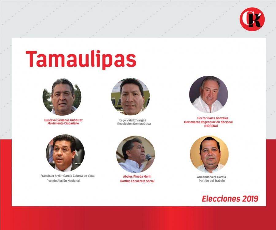 Estos son los candidatos estatales de Tamaulipas de 2019