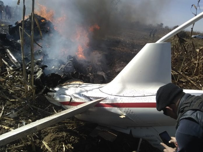 Señala investigación de caída de helicóptero en Puebla, que no tenía fallas previas