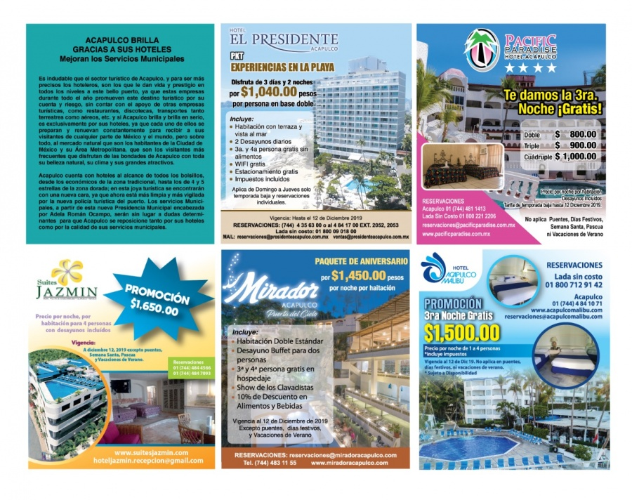 Acapulco brilla gracias a sus hoteles: mejoran los servicios municipales