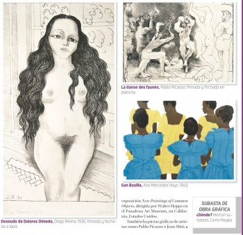 Subastan dibujo al desnudo de Dolores Olmedo hecho por Rivera
