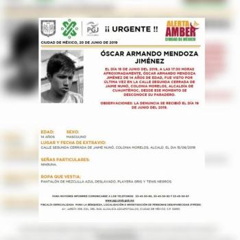 Alerta Amber: Ayuda a localizar a Óscar Mendoza, desaparecido en Cuauhtémoc