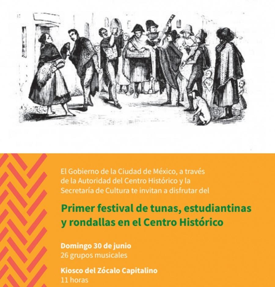 Se llevará a cabo el Primer Festival de Tunas, Estudiantinas y Rondallas en el Zócalo