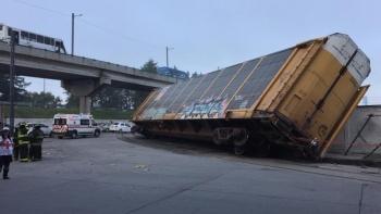 Se descarrila tren en Tollocan, Toluca