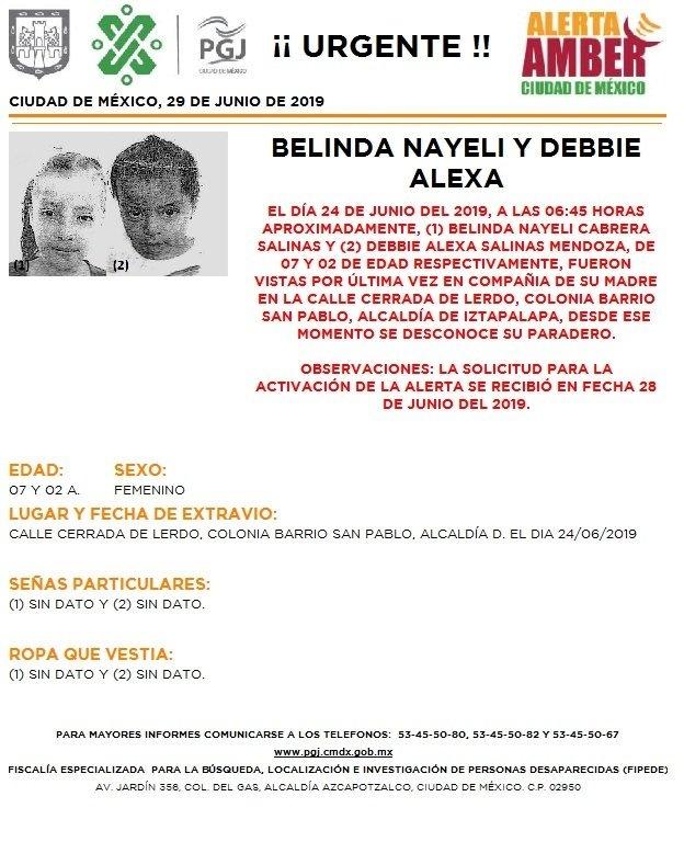 Activan Alerta Amber para localizar a niñas desaparecidas en Iztapalapa