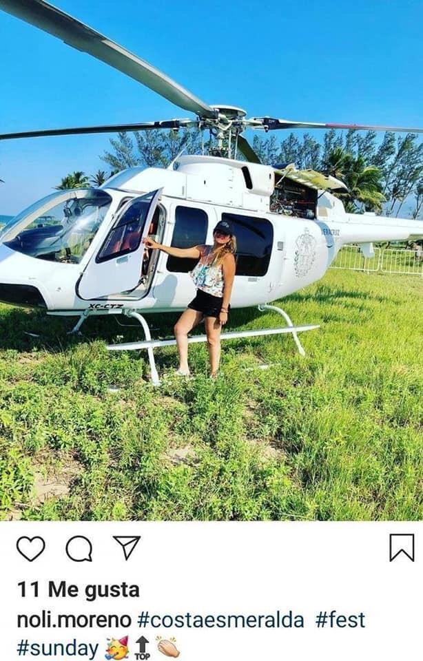 Presume funcionaria de Veracruz viaje a la playa en helicóptero oficial