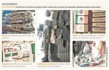 En tianguis ofrecen uniformes clonados de Ejército, Marina…