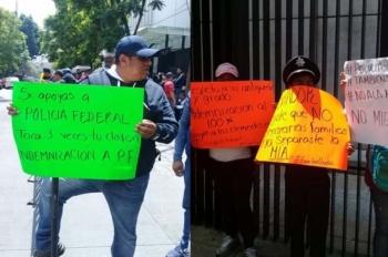 Elementos de la PF protestan afuera del Senado y buscan reunión con legisladores