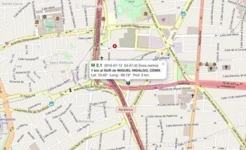 Reportan sismo de magnitud 2.1 en la alcaldía Miguel Hidalgo