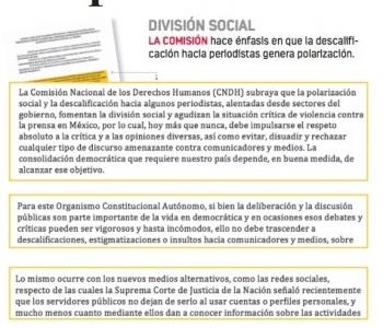 Servicio público no es para denostar a la prensa: CNDH