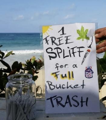 "En Jamaica, dan un ""porro"" de marihuana a cambio de recoger la basura"