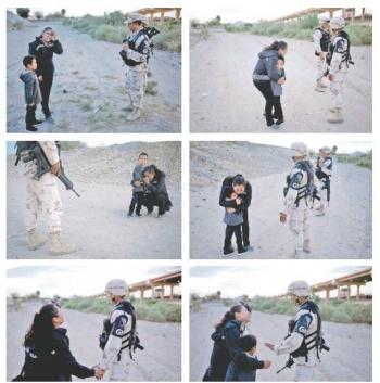 Migrante suplica con su hijo que la dejen cruzar hacia EU