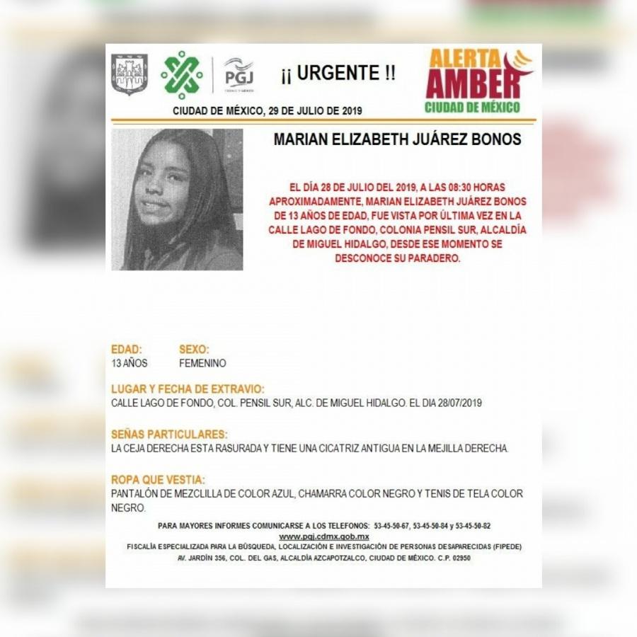 Alerta Amber: Ayuda a localizar a Marian Juárez, desaparecida en Miguel Hidalgo