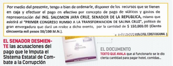 Investigan 150 mil pesos en viáticos para Salomón Jara