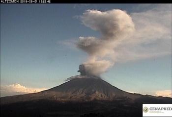 Popocatépetl emite 184 exhalaciones; semáforo se encuentra en amarillo fase 2