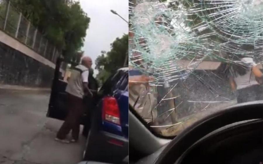Exhiben a #LadyPiñata; joven agrede y destroza un auto tras choque