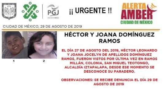 Alerta Amber: Ayuda a localizar a Héctor y Joana, desaparecidos en Iztapalapa