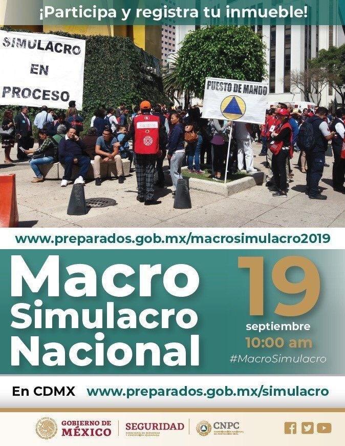Preparan autoridades macrosimulacro para el próximo 19 de septiembre