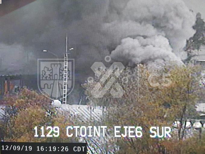 Se reporta incendio en Eje 6 Sur