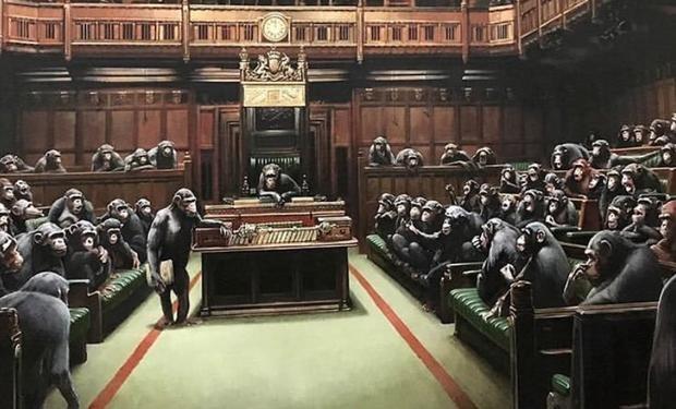 Saldrá a la venta obra de Parlamento inglés lleno de chimpancés