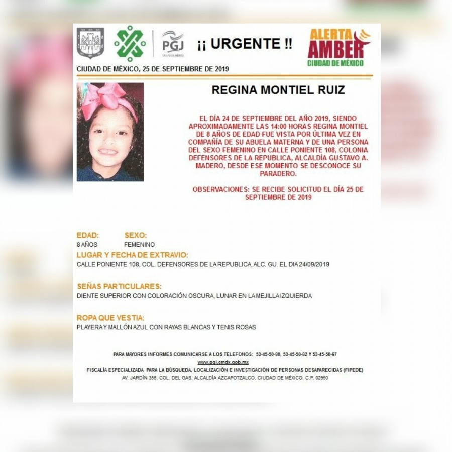 Alerta Amber: Ayuda a localizar a Regina, de 8 años, desaparecida en la GAM