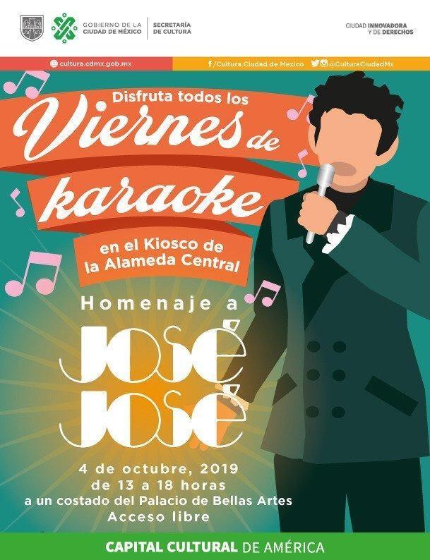 Invita la Secretaría de Cultura de la CDMX al homenaje a José José en la Alameda