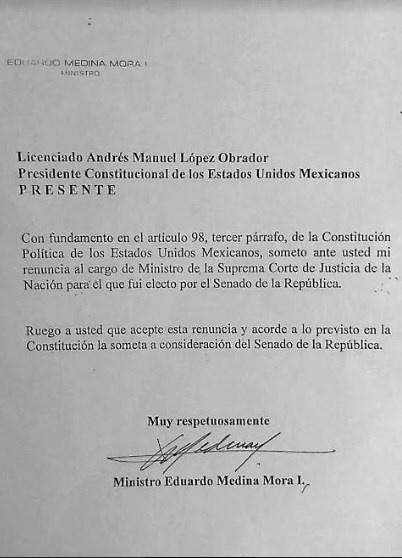 Renuncia Medina Mora 11 años antes de concluir su periodo