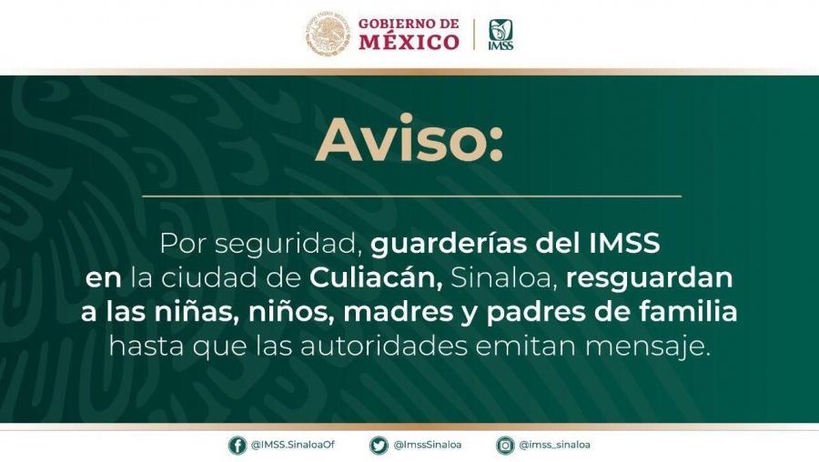 Suspende IMSS servicio de guarderías en Culiacán Sinaloa