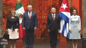 Recibe el presidente López Obrador a su similar de Cuba en Palacio Nacional