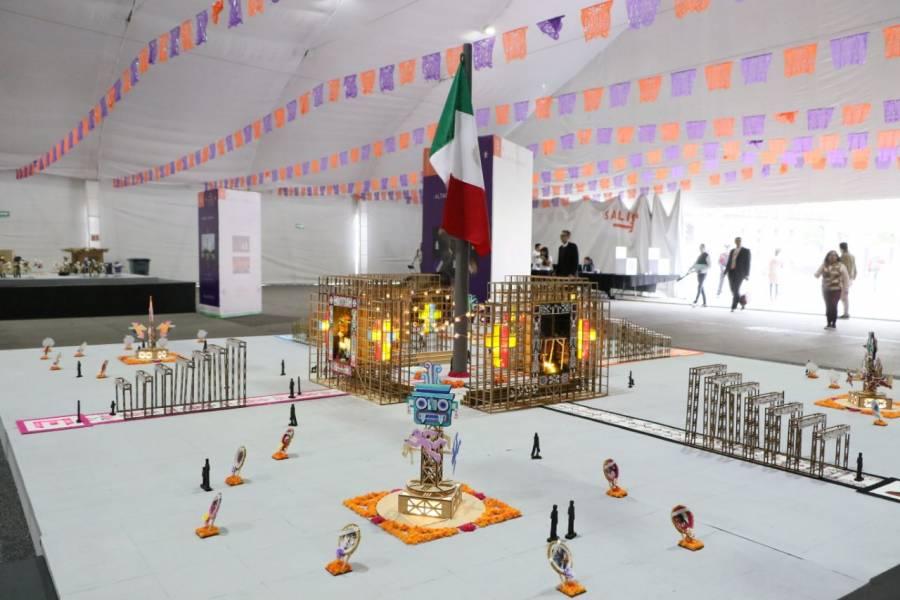 Comparte Sheinbaum fotos de los avances de la Ofrenda Monumental en el Zócalo