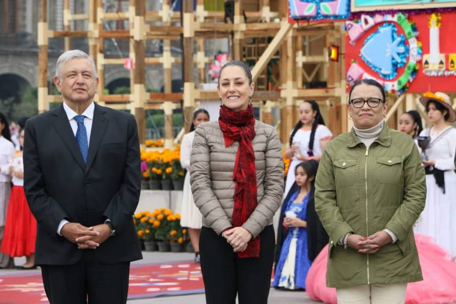 Agradece Sheinbaum al Presidente inaugurara la Ofrenda Monumental en el Zócalo