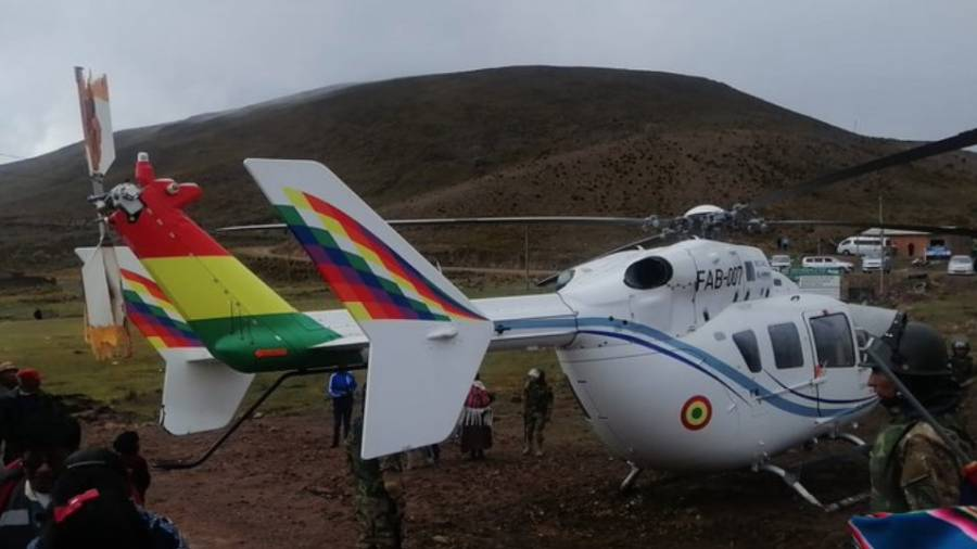 Aterriza de emergencia helicóptero de Evo Morales